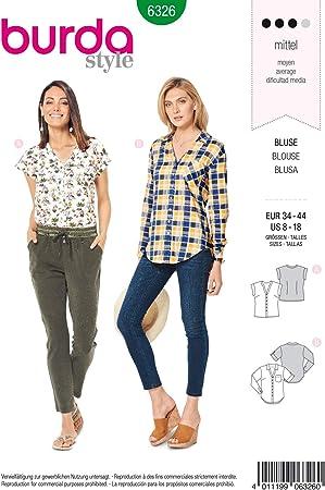 Burda 6326 - Patrón de Costura para Blusa de Mujer 34 – 44 para ...