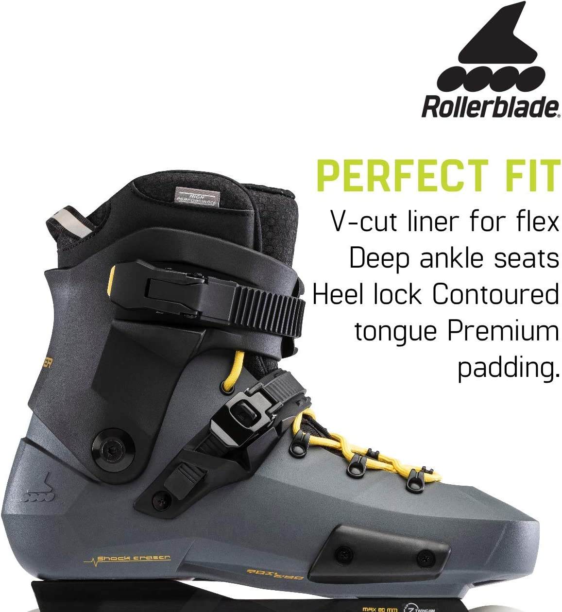 Anthracite and Yellow High Performance Inline Skates Rollerblade Twister Edge Mens Adult Fitness Inline Skate