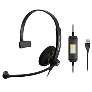Sennheiser SC 30 USB ML (504546) - Single-Sided Business Headset | For Skype for Business | with HD Sound, Noise-Cancelling Microphone, & USB Connector (Black)