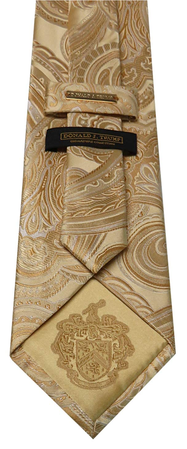 Donald Trump Neck Tie Yellow Paisley with Gold Emblem