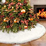 MINILIFE 48 Inches Soft White Faux Fur Christmas Tree Skirt, Luxury Large Tree Skirt for Xmas Holiday Decorations