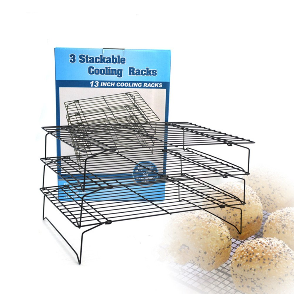 Yamde 3-Tier Stackable Cooling Rack - Baking Rack , Chef Quality 13.5 inch x 9.5 inch - Tight-Grid Design, Oven Safe, Roasting Wire Rack Fits Half Sheet Baking Pan for Cookies, Cakes Oven-Safe for Coo