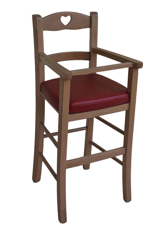OKAFFAREFATTO MADDALONI luxuriöser Hochstuhl für Kinder aus Holz Farbe Walnuss mit gepolsteter Sitz, Rot Bordeaux