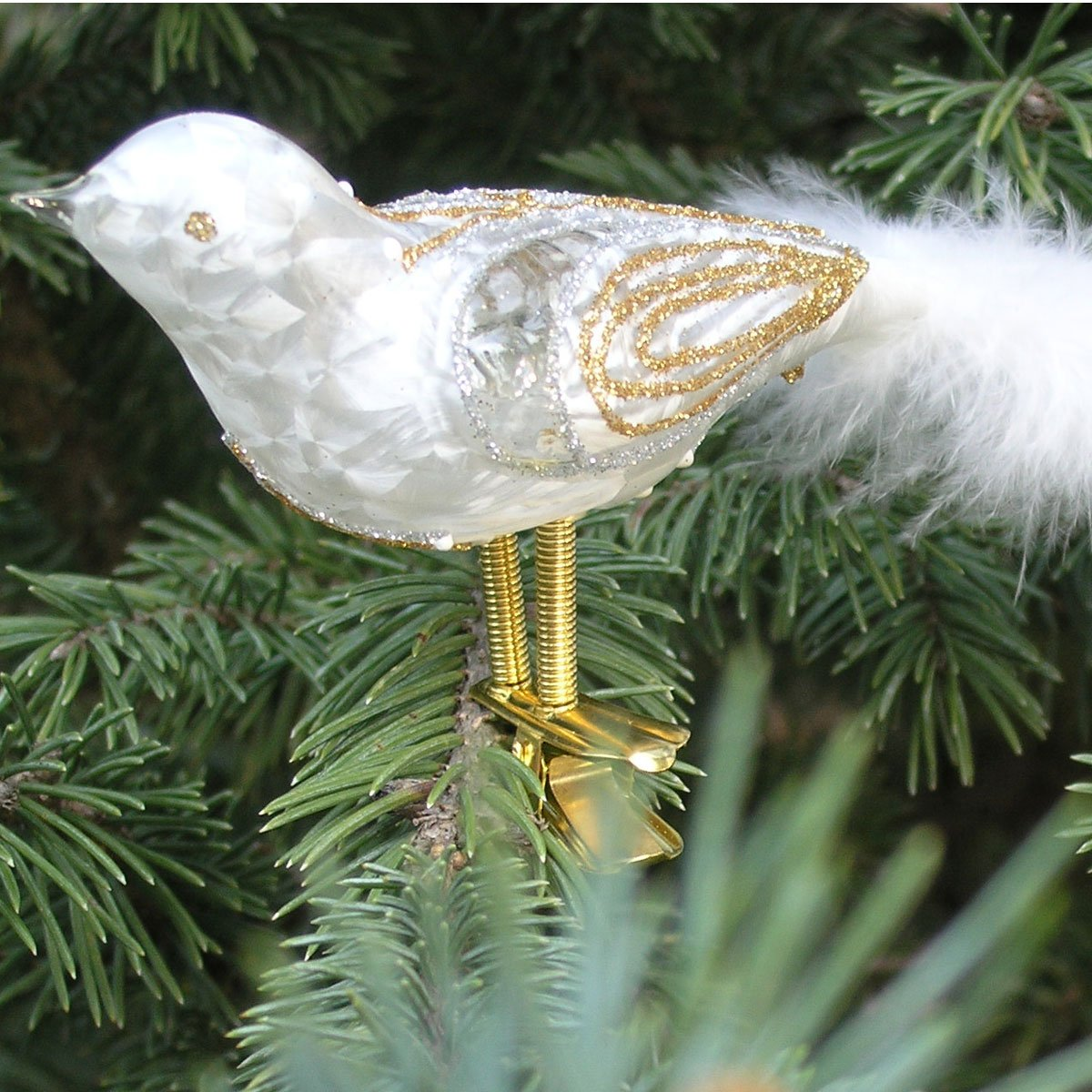 White Bird Blown Glass Ornament - Case of 6