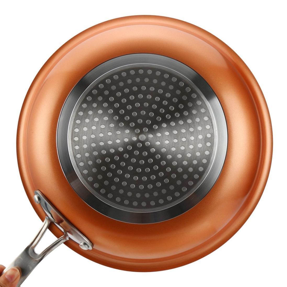 Antiadherente cacerola, hunpta cobre antiadherente sartén con revestimiento de cerámica y de inducción para cocinar en el horno seguro -- 24 * 24 * 4.3 CM/9 ...