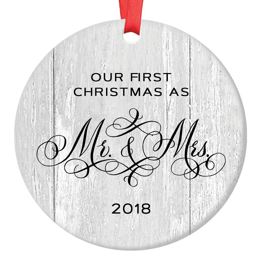 Wedding Gifts for the Couple Mr and Mrs Engagement Newlywed Our First Christmas Marriage Ornament 1st Xmas 3