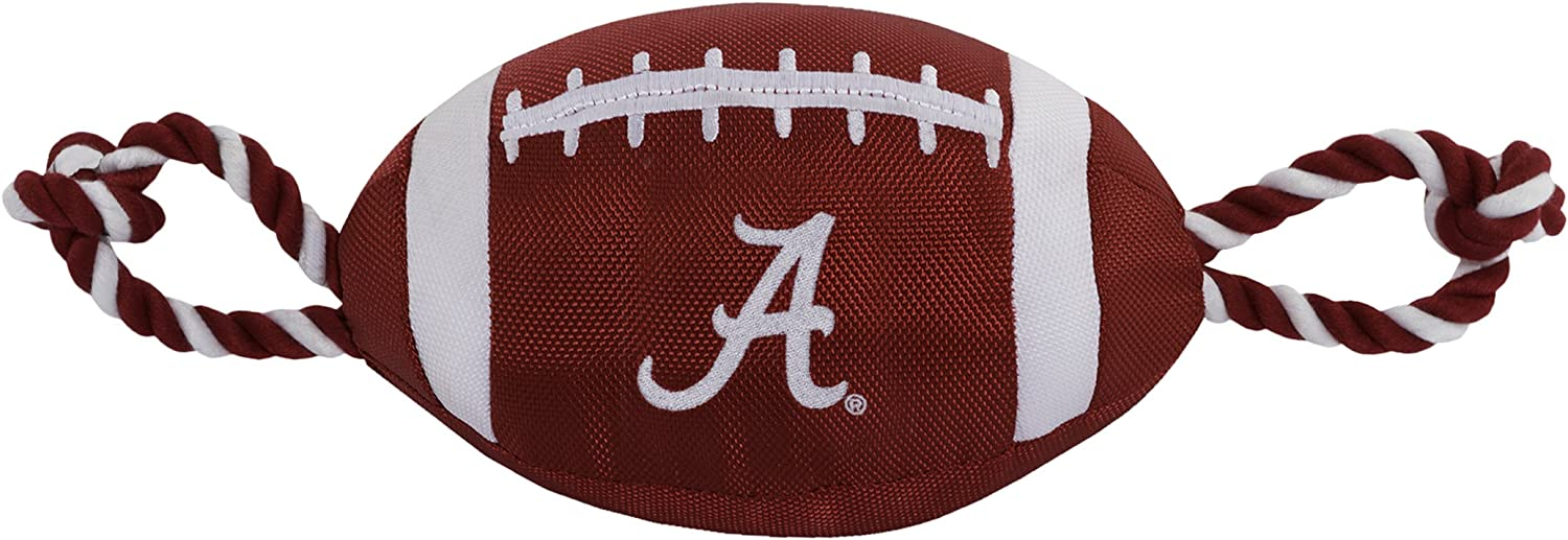 Pets First NCAA Alabama Crimson Tide Football Dog Toy, Tough Quality Nylon Materials, Strong Pull Ropes, Inner Squeaker, Collegiate Team Color