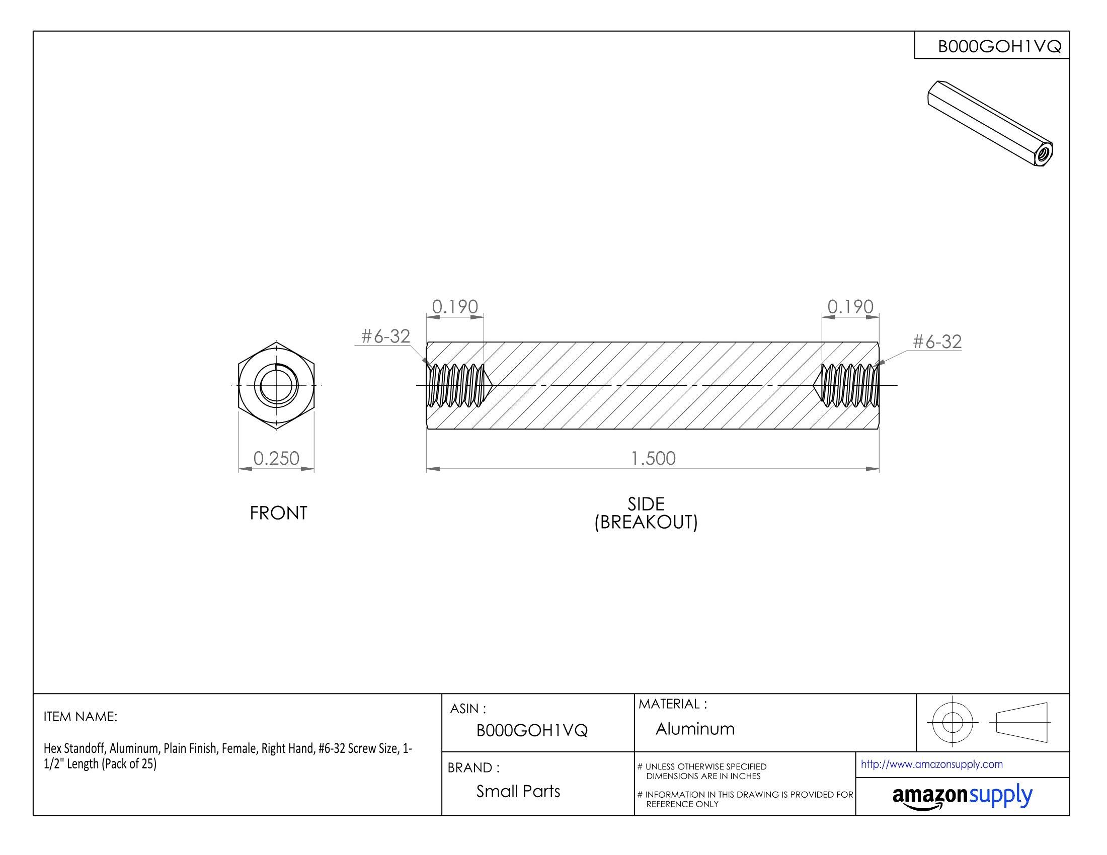 Hex Standoff, Aluminum, Plain Finish, Female, Right Hand, #6-32 Screw Size, 1-1/2'' Length (Pack of 25)