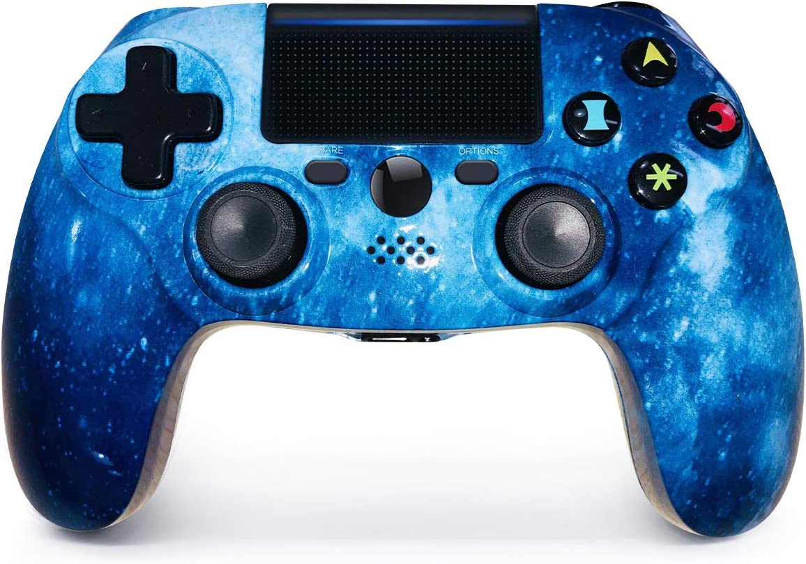 PS4 Controller Wireless Blue Galaxy Style Dual Vibration High Performance Gamepad with Touch Pad High-Precison Controller for Playstation 4 / PS4 Pro/Slim (Starry Sky)