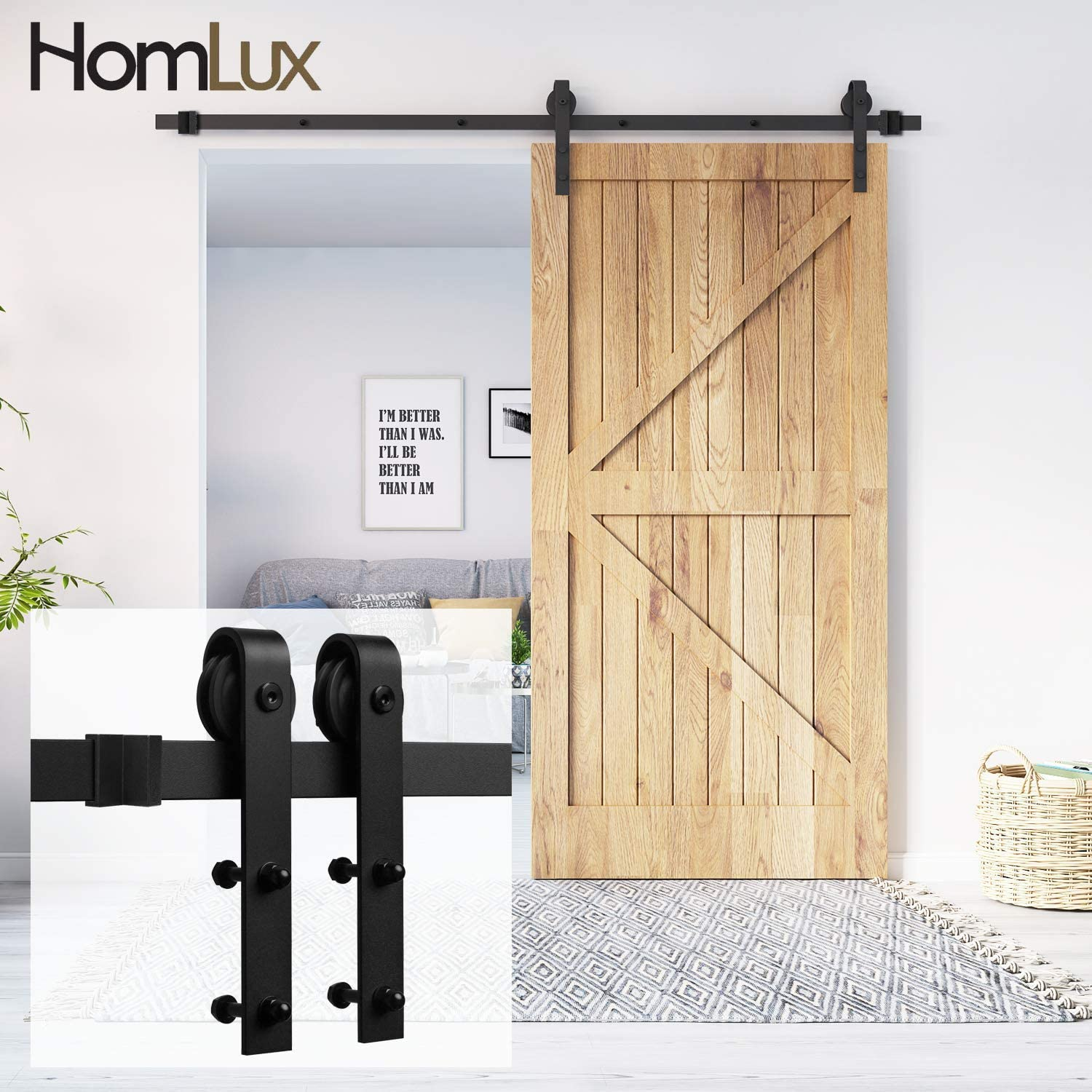 "Homlux 8ft Heavy Duty Sturdy Sliding Barn Door Hardware Kit Single Door - Smoothly and Quietly - Simple and Easy to Install - Fit 1 3/8-1 3/4"" Thickness Door Panel(Black)(J Shape Hangers)"