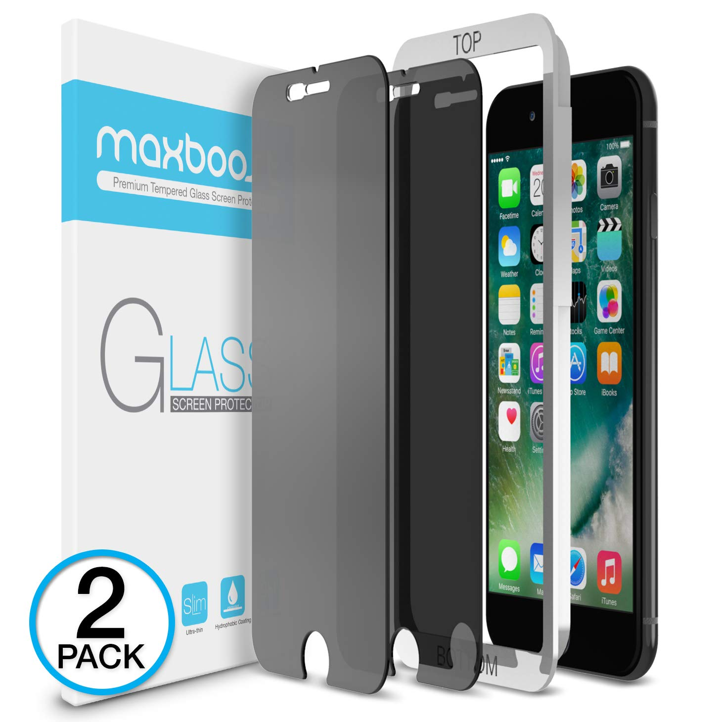 Maxboost Privacy Screen Protector Compatible with Apple iPhone 8 Plus and iPhone 7 Plus (2-Pack) Anti-Spy Tempered Glass Screen Protector Premium Anti-Scratch/Fingerprint Pack of 2 by Maxboost
