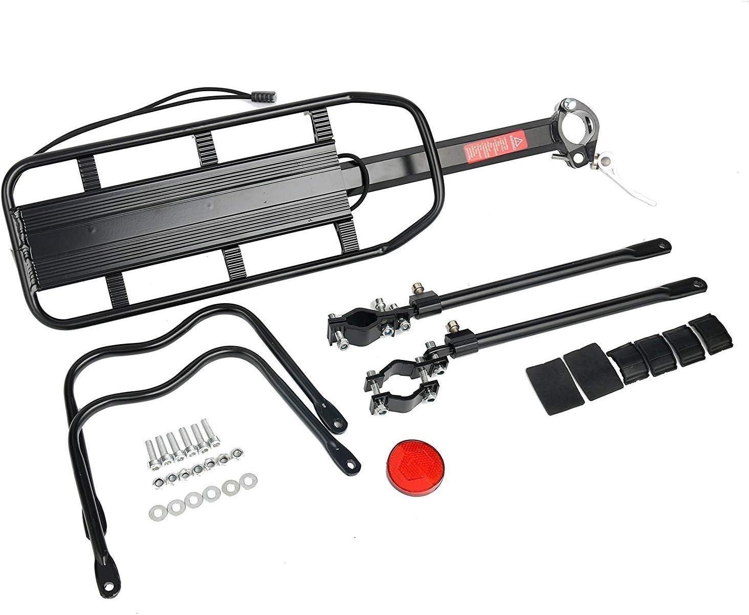Amarine Made 110 Lbs Capacity Aluminum Alloy Bicycle Rear Rack Adjustable Pannier Bike Luggage Cargo Rack Bicycle Carrier Racks