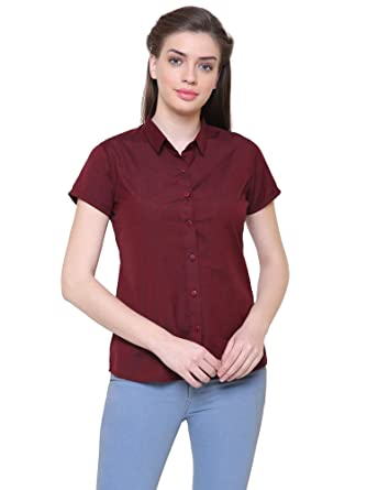 Leaf Women's Solid Formal Maroon Shirt