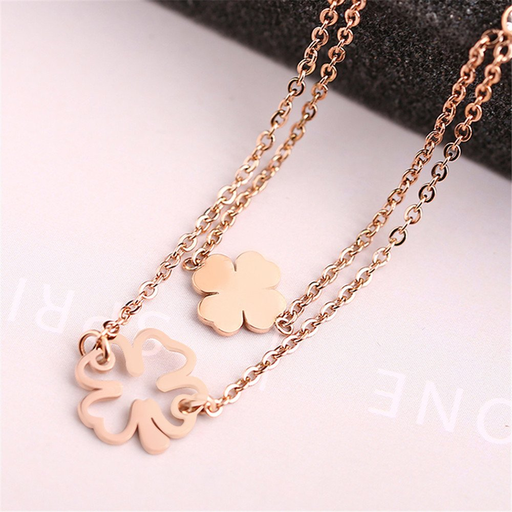 Dana Carrie Woman jewelry Double-layer four-leaf flower pendant necklace hypoallergenic clavicle chain