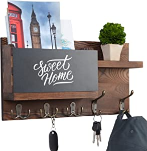 Key Holder for Wall Decorative, Mail Organizer Wall Mount with Chalkboard Surface and 5 Key Hook, Sturdy Pine Wood Key Rack with Shelf for Entryway, Front Door, Rustic Hallway House Decor