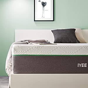 Full Size Mattress, 10 Inch Iyee Nature Cooling-Gel Memory Foam Mattress Bed in a Box, Supportive & Pressure Relief with Breathable Soft Fabric Cover, Medium Firm Feel,Gray