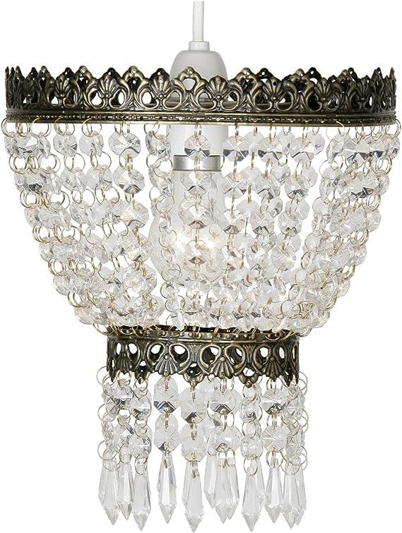 Imagen deOaks Lighting 175AB Ekon - Lámpara de techo con cristales (21,5 cm), color latón envejecido