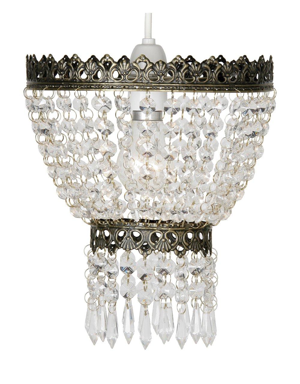 mit Gestell in Messing-Antik-Optik und Glasperlen 21,5 cm Oaks Lighting H/ängelampenschirm Ekon