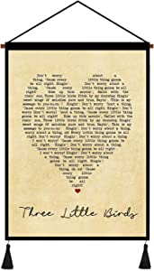 kasader Three Little Birds Heart Unique Quote Song Lyric Retro Wall Art Gift Print Canvas Reel Home Decor 18x12in