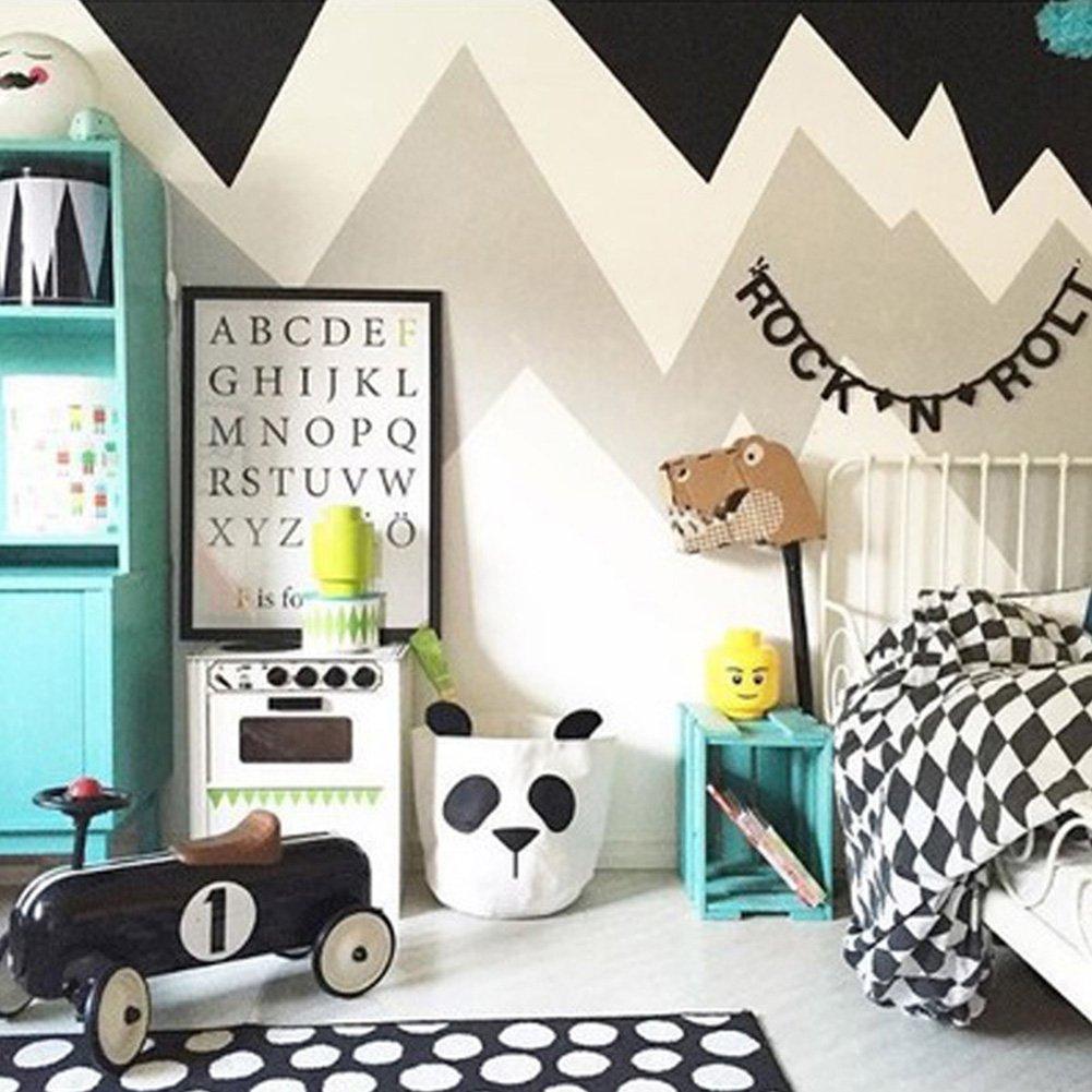 Ozzptuu Cesta redonda plegable de lona para la colada con diseño de panda para guardar la cara de los niños, juguetes, calcetines, ropa, color blanco: ...