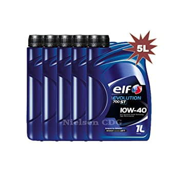 Elf, Evolution 700 ST 10W40 - Aceite de motor semi-sintético, 5 litros (ex Competition): Amazon.es: Coche y moto