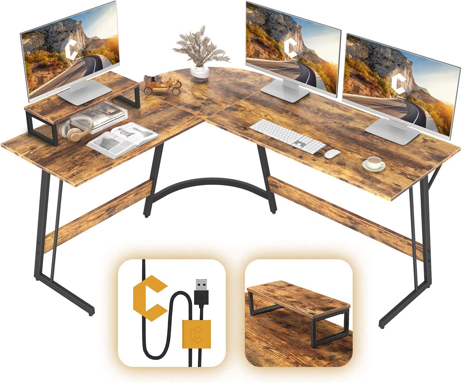 CubiCubi Modern L-Shaped Desk Computer Corner Desk, Home Office Writing Study Workstation with Small Table, Space Saving, Easy to Assemble, Rustic Brown