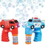 Bubble Blaster Fire & Police Set with Lights and Sound, by ArtCreativity Includes Fire Truck Bubble Gun, Police Cruiser Bubble Gun & 4 Bottles of Solution, Great Gift for Kids (Batteries Included)
