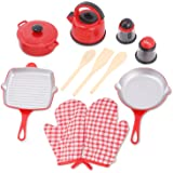 Kitchen Cookware Pots and Pans Playset for Kids with Kettle Cooking Utensils Set Salt and Pepper Shakers