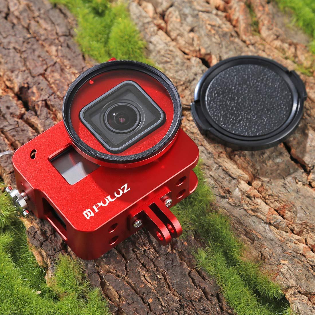 para GoPro HERO5 color negro sin cubierta trasera Carcasa protectora Puluz de aleaci/ón de aluminio con lente de 52/mm para filtrado de rayos UV para GoPro Hero5