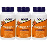 NOW Foods Vitamin K-2,100mcg, 100 Vcaps (3 pack)