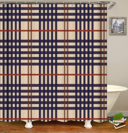 Nymphia Shower CurtainBrown Navy Blue Lines Like Burberry StripesDurable Waterproof Mildew Resistant