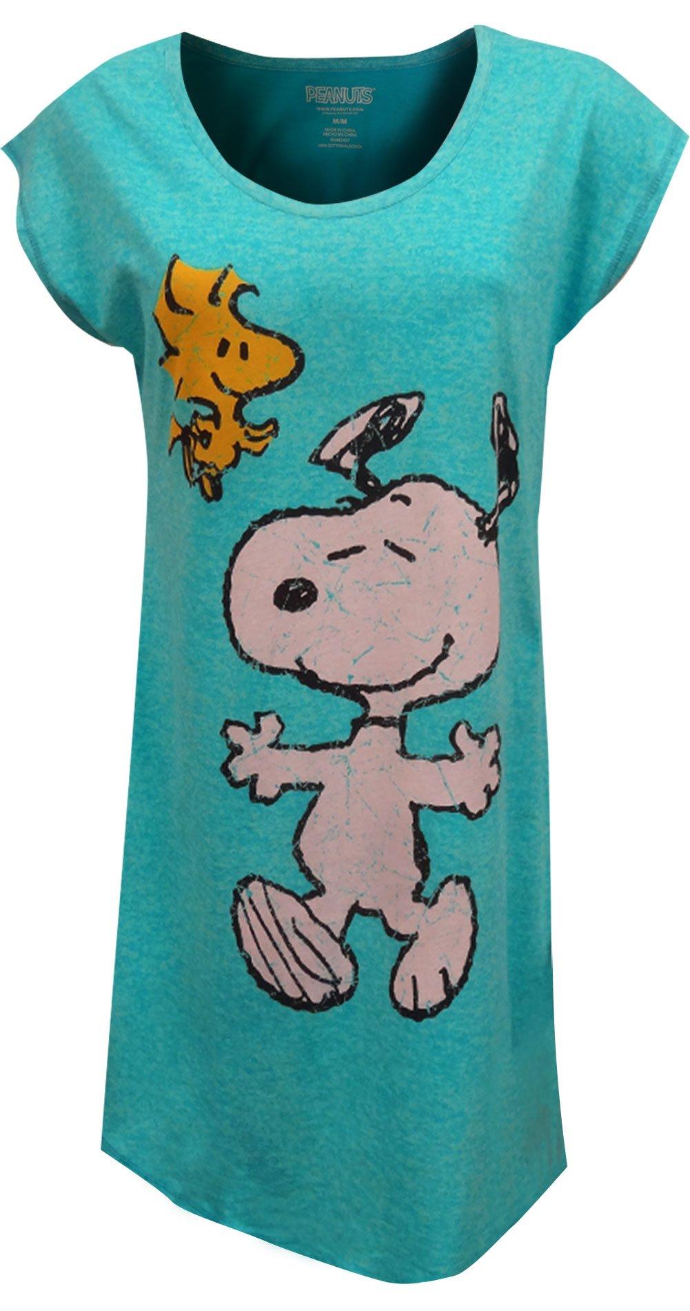 Peanuts Women's Snoopy Nightgown, Light Blue, XL