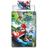 Super Mario Nintendo Kart Single Duvet Cover | Officially Licensed Reversible Two Sided Gravity Design with Matching Pillowcase