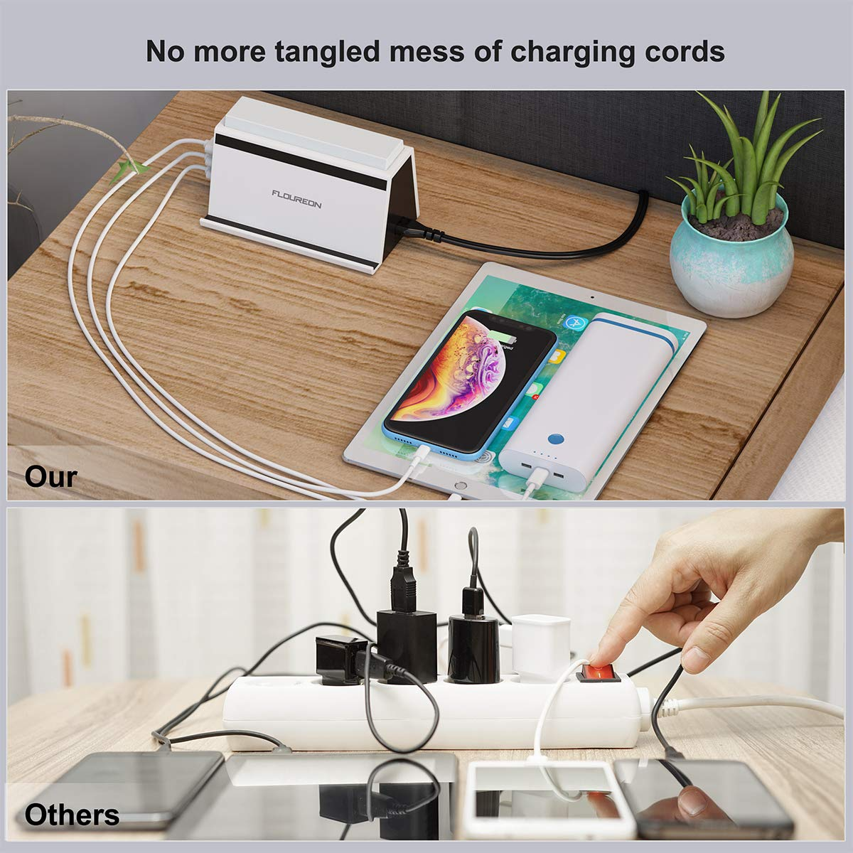 FLOUREON Multi USB Charging Station Wireless Phone Charger 4A/20W 4 Ports Multi Device Phone Stand Desktop Multi-port USB Charger with LED Light for iPhone 8, iPhone X, Samsung Galaxy S6