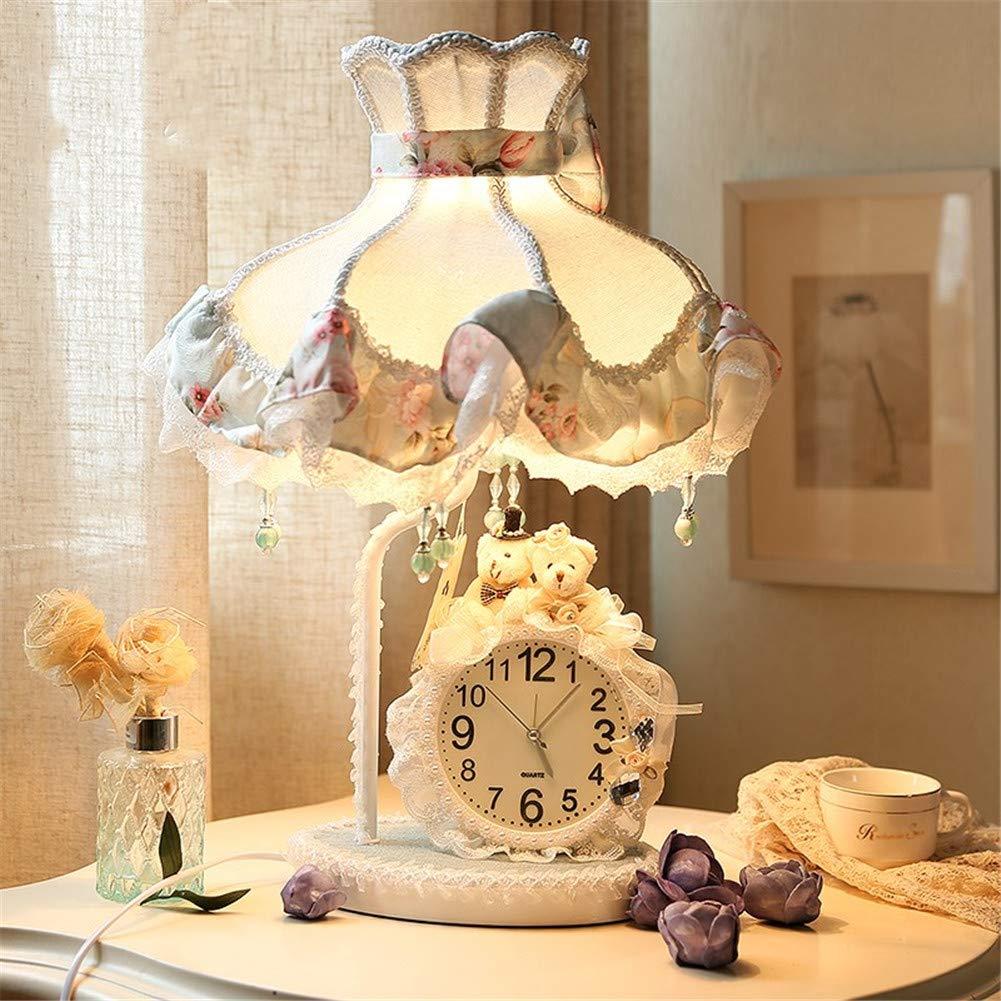 Kreativ Kinderzimmer Tischlampe,Schlafzimmer bett Spitze Mittelmeer Mit uhr Tischlampe,Augenpflege Sicher und langlebig Für Kommode Bett-A 26x48cm(10x19inch)