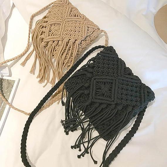 Bolso de playa estilo bohemio, hecho a mano, para mujer. Cosido en ganchillo con hilo de algodón. Bandolera con flecos largos y estilo étnico original: ...