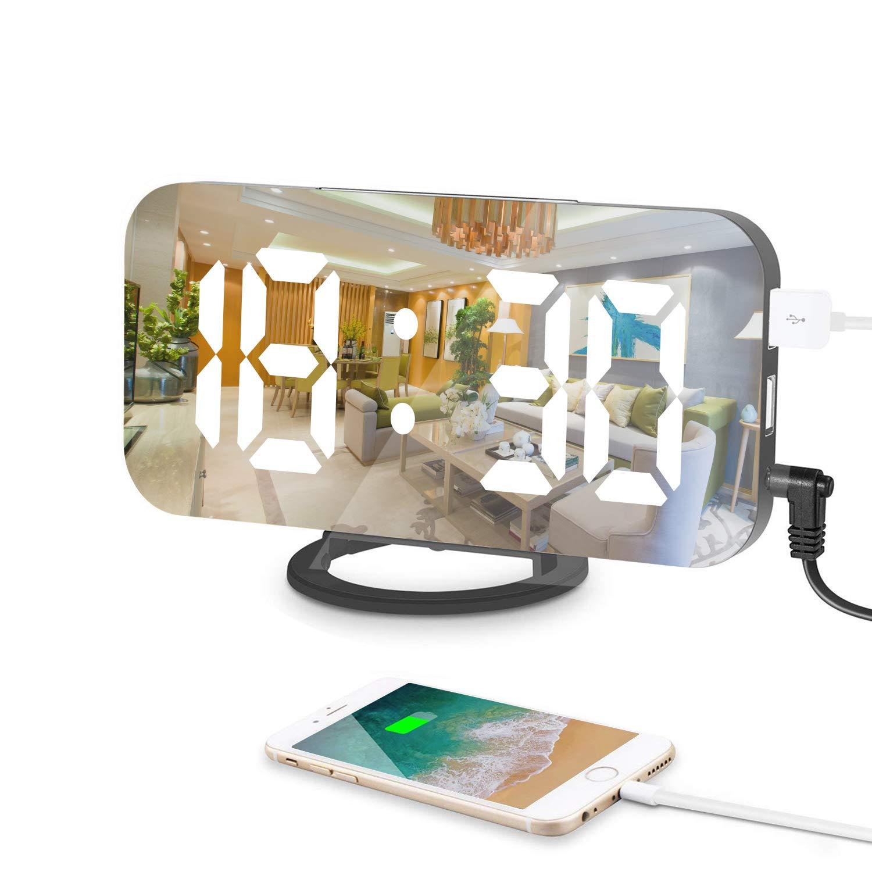 Reloj despertador digital, 6.5 Pulgadas Grande LED Espejo alarma Digital Moderno con Dual USB Puertos, Snooze y Luminancia Ajustable con 3 Niveles para Home ...