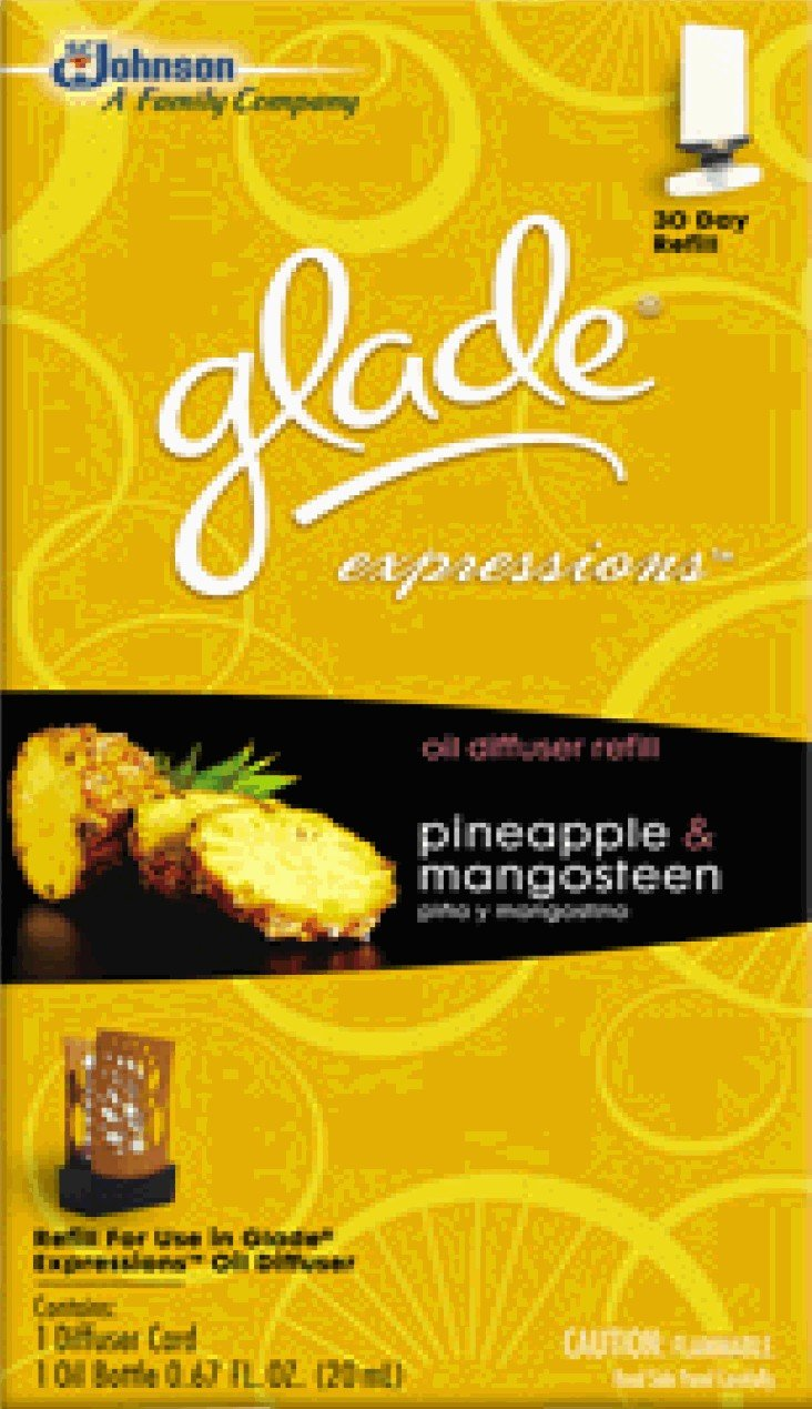 Glade Expressions Oil Diffuser Refill, Pineapple and Mangosteen, 0.67 Ounce (Pack of 2)