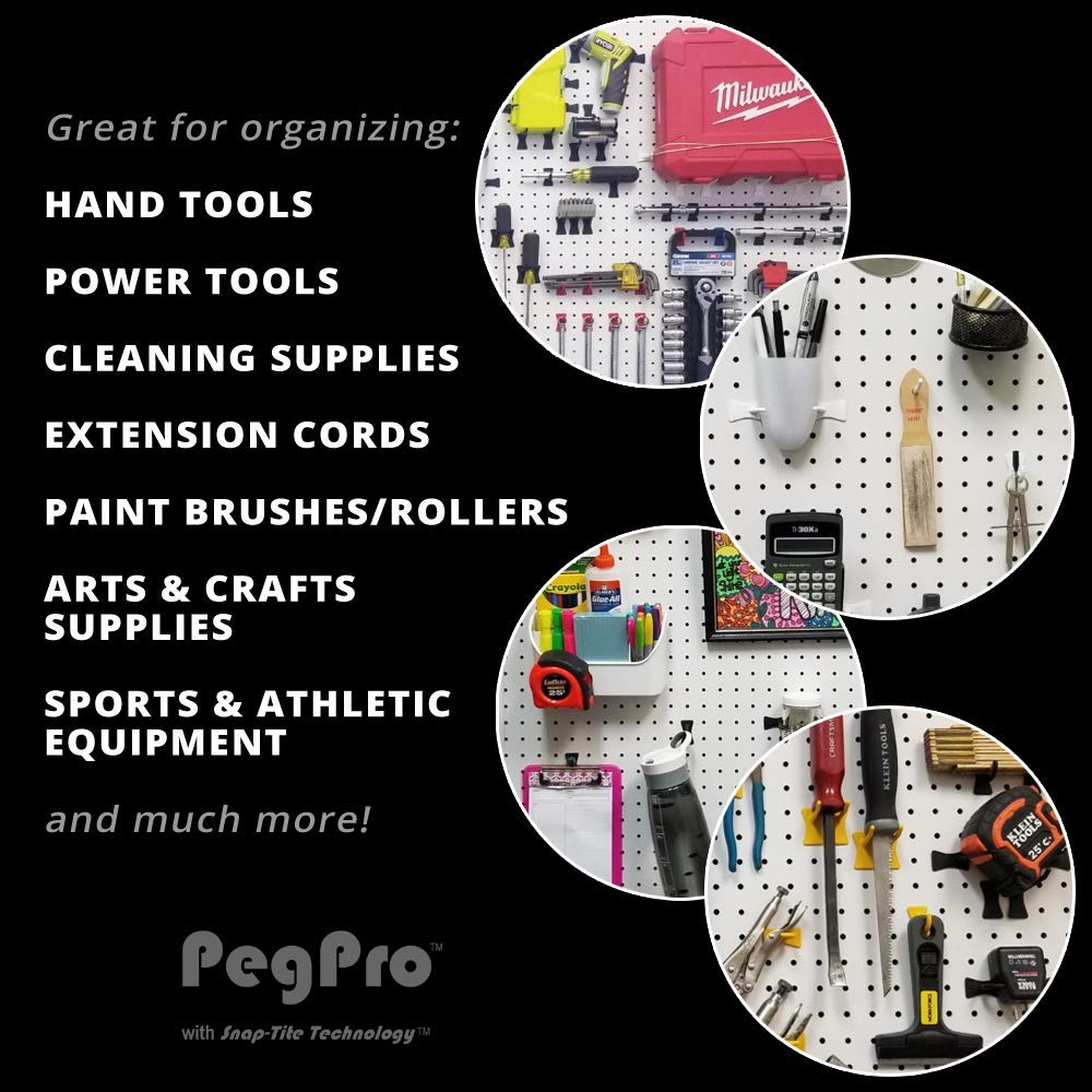 2 Straight - 24 Count, Red Garage PegPro 2 Straight Hooks for 1//4 Pegboards Tools and more For Craft Storage Secure Plastic Hooks For Your Wall Organizer Kitchen