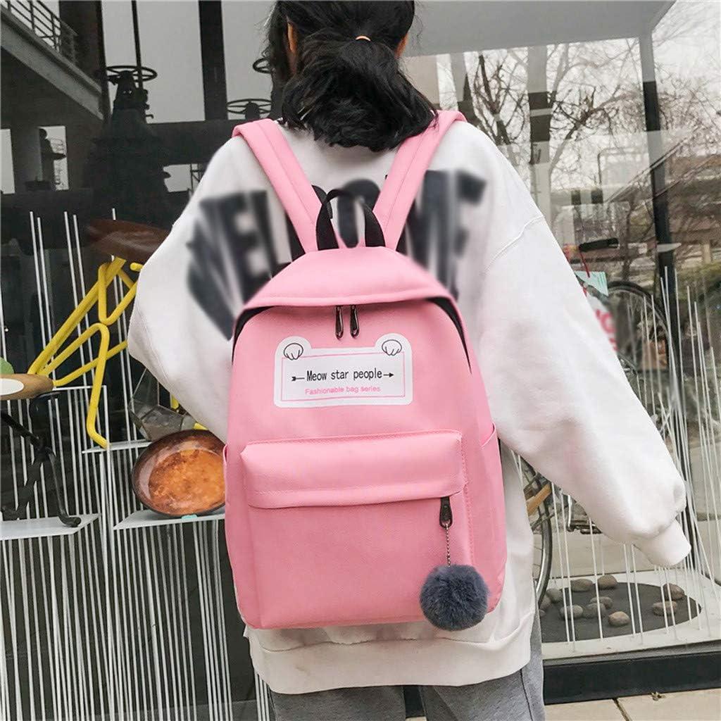 Backpack For Women Small Fresh Hair Ball Pendant Canvas Cute Student Bag Female Travel Bag