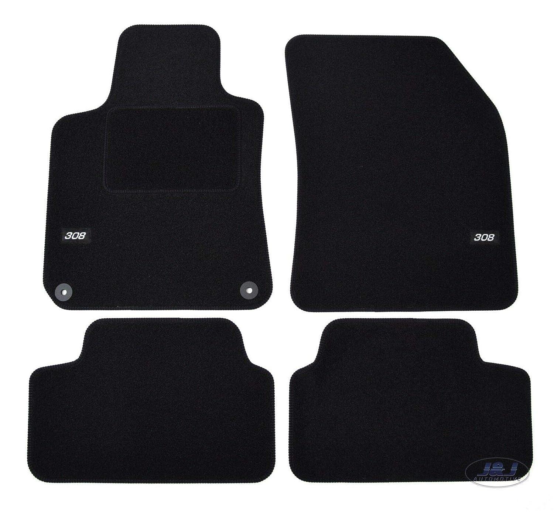J&J AUTOMOTIVE | Logo Tapis DE Sol Noir Velours Compatible avec Peugeot 308 2014-prés