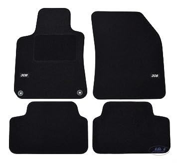 J/&J AUTOMOTIVE Tapis DE Sol Noir Velours Compatible avec Peugeot 308 II 2013-pr/és 4 pcs