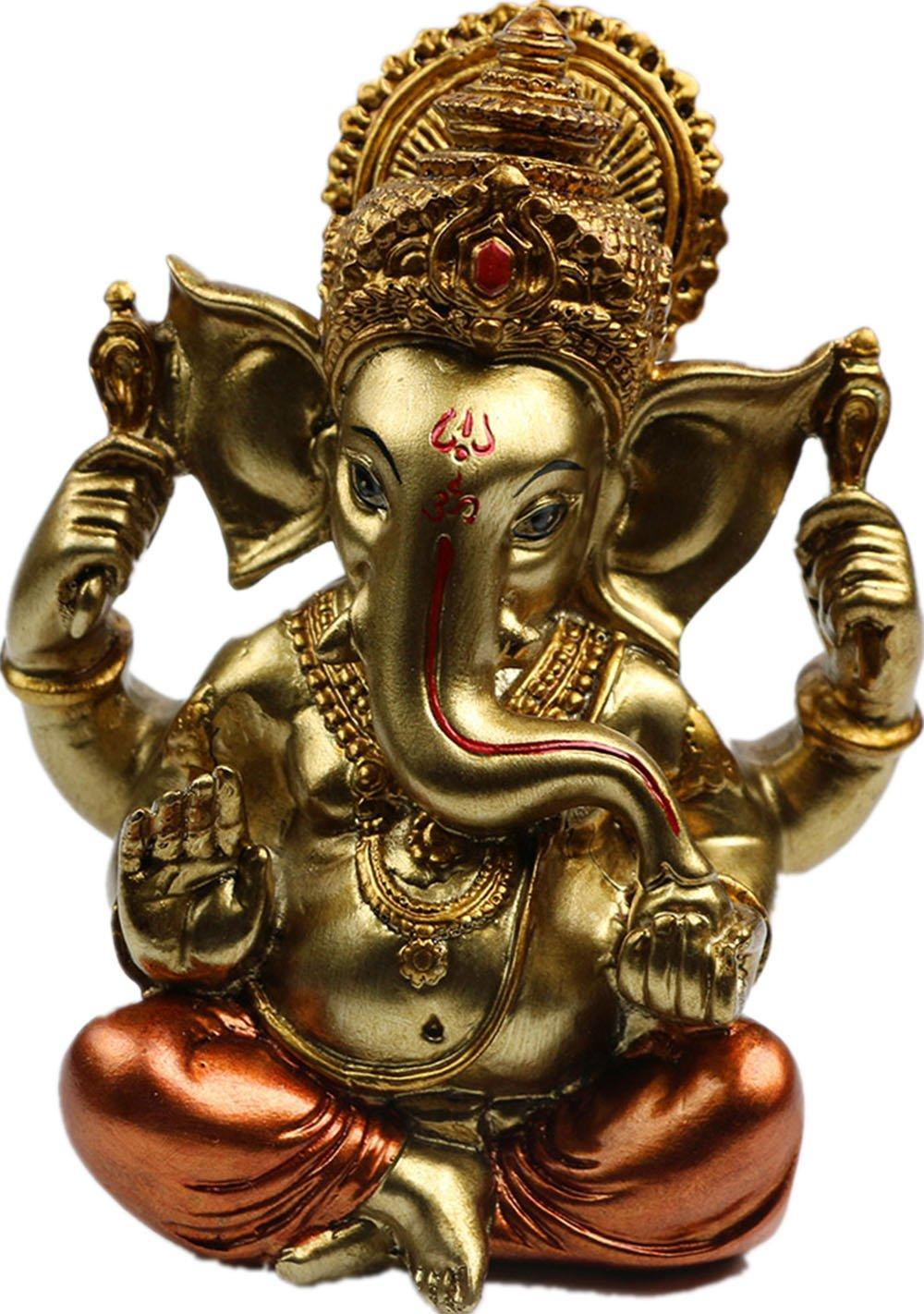 BangBangDa 6.3'' H Resin Hindu God Statue Ganesh Figurine India Buddha Elephant Lord Ganesha Sculpture Indian Idol Religious Car Accessories Diwali Decoration Home Décor Wedding Gift (Antique Copper)