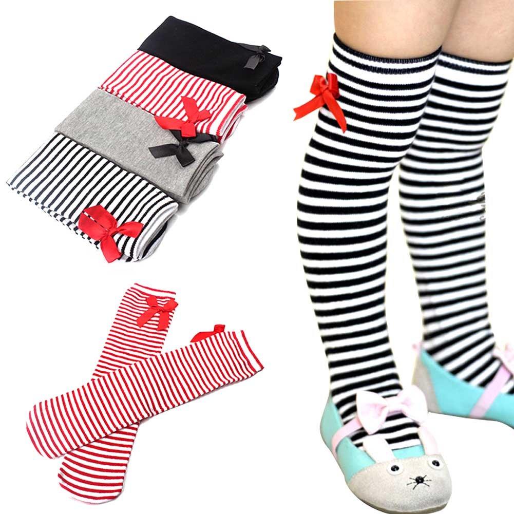 Mwfus 1Pair Girls Cotton Warm Socks Princess Bowknot Over Calf Knee High Socks