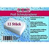 M&H-24 Schmutzradierer Schmutz-Radier-Schwamm Reinigungsschwamm Wunderschwamm 12er Packung, Weiß