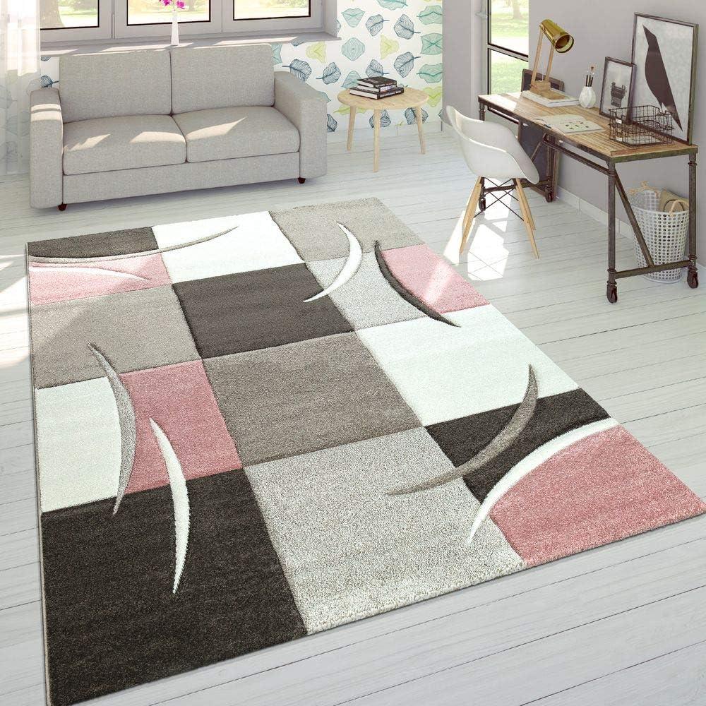 Dimension:60x110 cm Paco Home Cr/éateur Tapis Moderne Contours D/écoup/és Couleurs Pastel /À Carreaux Motif en Beige Rose