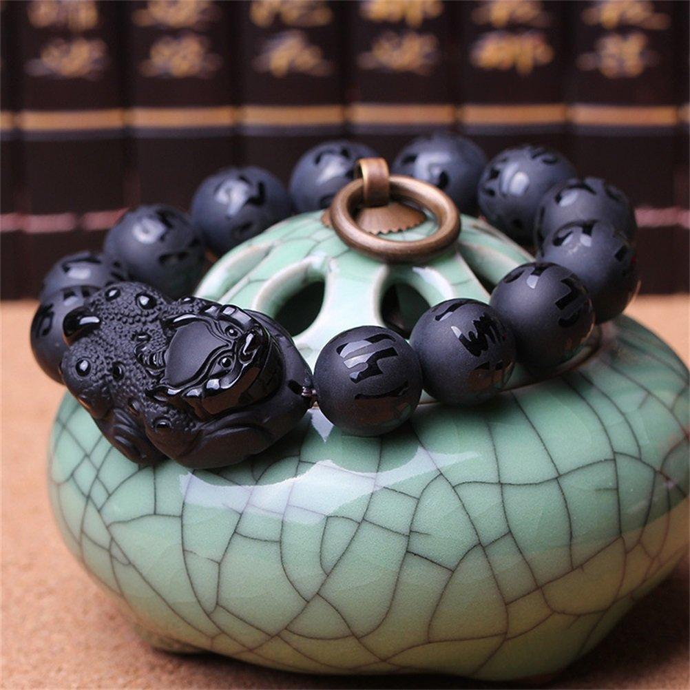 KOREA-JIAEN Pixiu Brecelet 16mm Natural Obsidian Bead Brecelet Bangle (16mm Bead, A) by KOREA-JIAEN (Image #3)