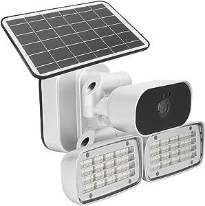 Garden Lamp Courtyard Monitor Multi-Device Connection Motion Detection Recording Solar Camera Night Vision for Home Garden Courtyard Security(European Version)