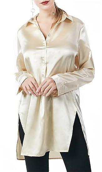 6ff44641 KLJR-Women Satin Boyfriend Style Long Sleeve Button Down Shirt Apricot US XS