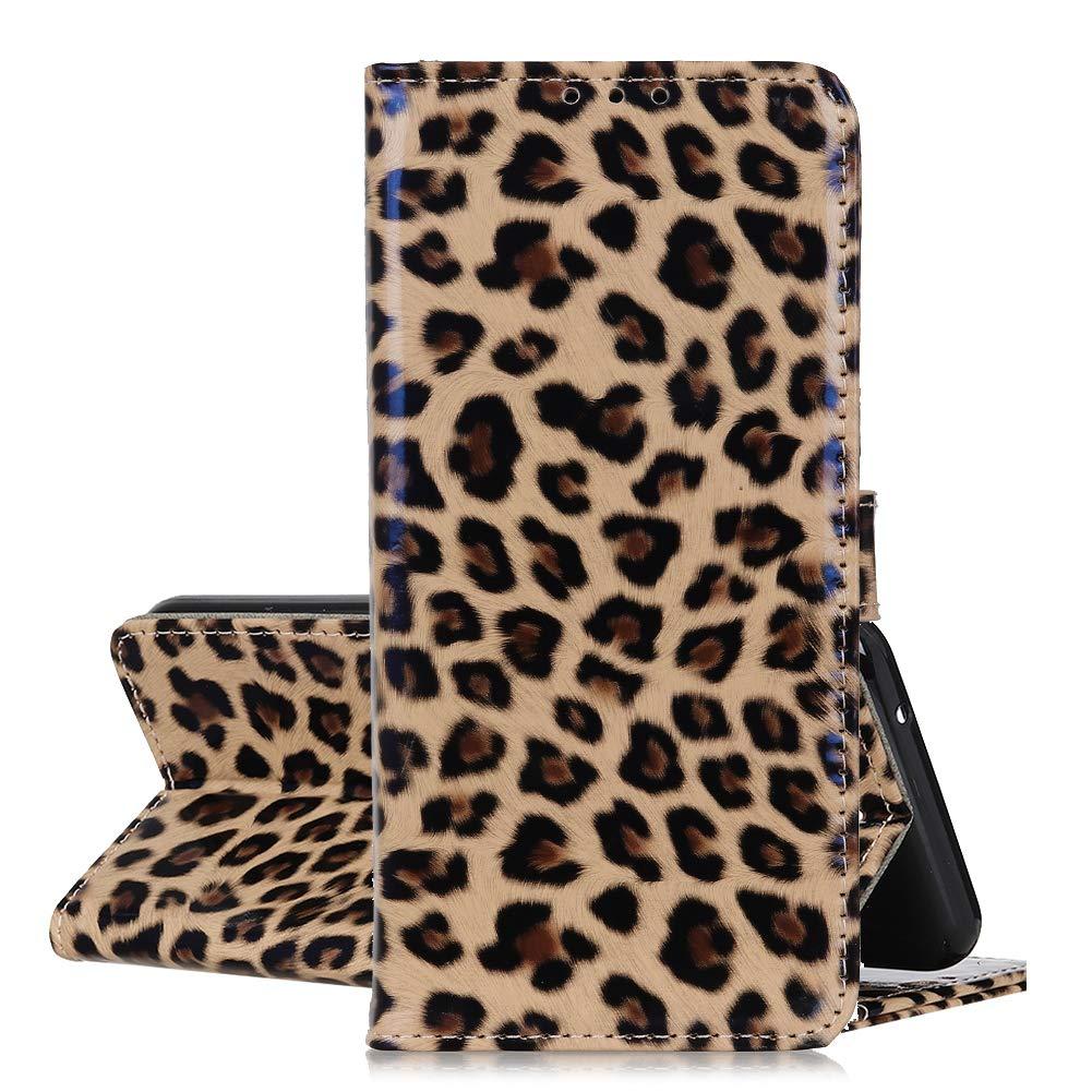 QC-EMART Custodia a Libro per Samsung Galaxy A70 Cover Portafoglio Stampa Leopardo Animale Print con Carta di Credito Funzione Stand Protettivo Dell'ente Completo Flip Caso Marrone